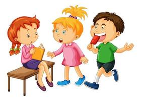 Group of young children cartoon character on white background vector