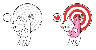 lindo gato colgando de la flecha de destino oloring página vector