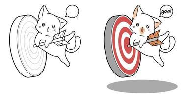 Lindo gato colgando de la página para colorear de dibujos animados de flecha vector