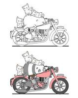 Adorable cats and panda on motorbike cartoon coloring page