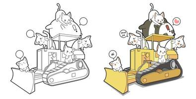 Panda and cats with tractor cartoon coloring page vector