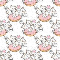 Seamless kawaii cat character with pink doughnut pattern
