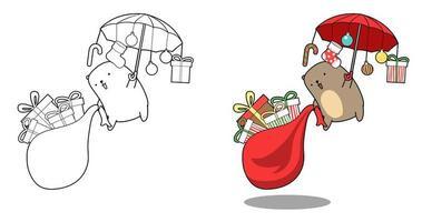 Oso y regalos volando página para colorear de dibujos animados vector