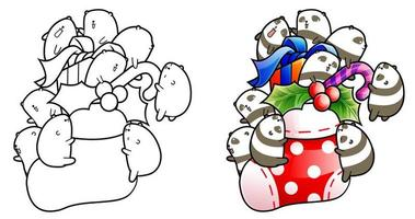 Cute pandas on Christmas day cartoon coloring page