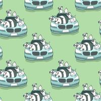 Seamless kawaii animals and blue auto car pattern