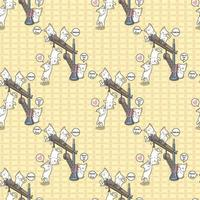 Seamless kawaii cats are playing with crane pattern vector