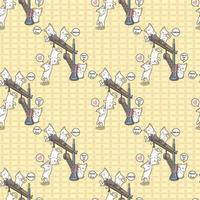 gatos kawaii inconsútiles están jugando con patrón de grúa vector