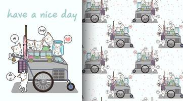 Seamless kawaii cat characters and portable stall pattern vector