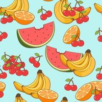 Seamless fruits pattern in cartoon style