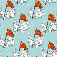 Seamless kawaii cat holding flag and friends pattern