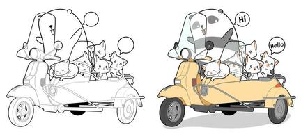 Adorable panda riding scooter with cats cartoon coloring page vector