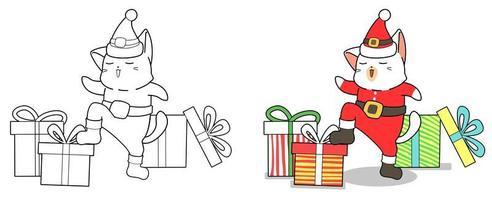 Santa cat and gifts cartoon coloring page vector