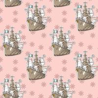 Seamless kawaii cats with the war ship pattern vector