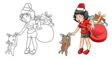 Santa girl and reindeer cat cartoon coloring page vector