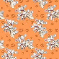 Seamless kawaii cats with devil's hand Halloween festival pattern