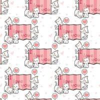 gatos kawaii sin costuras y cortina con patrón de palabras vector