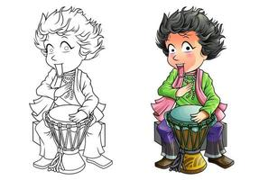Drummer cartoon coloring page for kids