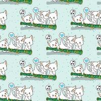 Seamless kawaii cat characters with a flute pattern