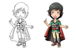 Adorable samurai cartoon coloring page for kids vector