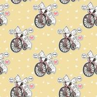 Seamless kawaii cats with vintage bicycle pattern vector