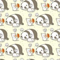Seamless kawaii cat shouting to wake up friends pattern vector