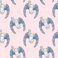 seamless, kawaii, cupido, gato, carácter, patrón vector