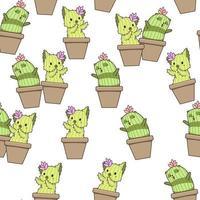 Seamless hand drawn kawaii cactus characters pattern vector