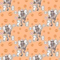 gatos kawaii sin fisuras y patrón de fiesta de halloween esqueleto