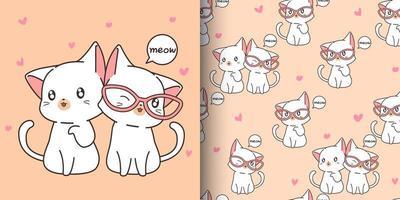 Patrón transparente de 2 gatos kawaii