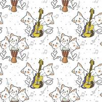 Kawaii cat characters with drum and guitar pattern