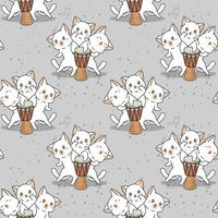Seamless kawaii cat characters with drum pattern