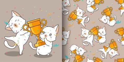gatos kawaii sin fisuras con patrón de copa ganador vector