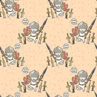 Seamless kawaii knight cat character pattern