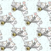 Seamless kawaii cat driving airplane with friend pattern vector