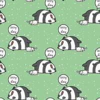 Seamless kawaii panda and cat lazy day pattern vector