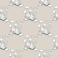 Seamless kawaii cat having fun with book pattern vector