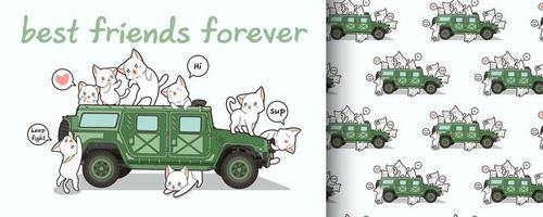 Seamless kawaii cat characters and military vehicle pattern vector
