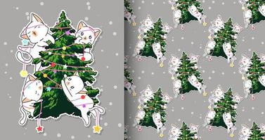 Seamless adorable cat characters with Christmas tree pattern vector