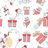 Kawaii bear and cat characters Christmas day pattern vector
