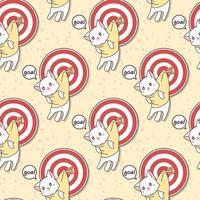 Seamless kawaii cat colgando de la portería con patrón de flecha vector
