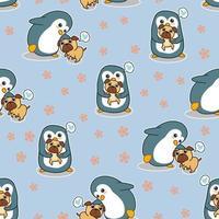 pingüino inconsútil dice amor al patrón de perro pug vector
