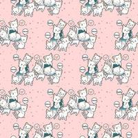 Seamless kawaii cat characters on bench pattern vector