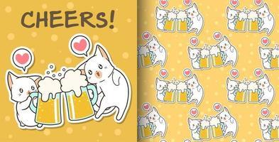 seamless, kawaii, gatos, bebida, patrón vector