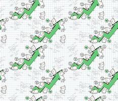 Seamless kawaii cat characters with success chart pattern