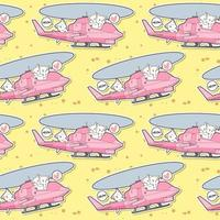 Seamless kawaii cat driving helicopter with friends pattern vector