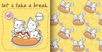 Seamless kawaii cat in hotdog and friends pattern vector
