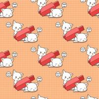 Seamless adorable cat crushed by red candle stick pattern vector