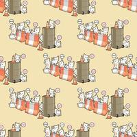 Seamless kawaii cat characters with barriers pattern vector
