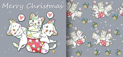 Kawaii happy cats in sock and friends Christmas pattern vector