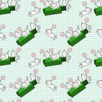 Kawaii cat characters and green candlestick pattern